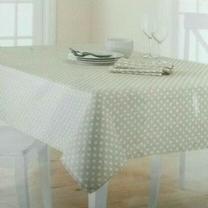 Kohls Dining Fabric Tablecloth 60x120 Polka Dots Beige